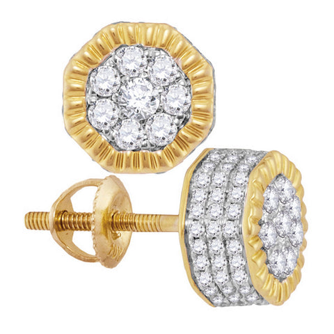 10kt Yellow Gold Mens Round Diamond Fluted Hexagon Cluster Stud Earrings 3/4 Cttw