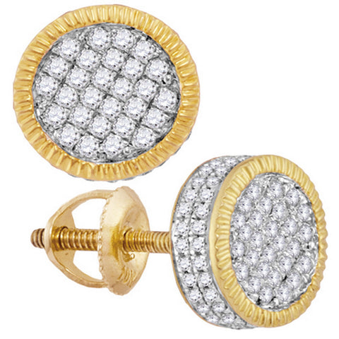 10kt Yellow Gold Mens Round Diamond Fluted Circle Cluster Stud Earrings 7/8 Cttw