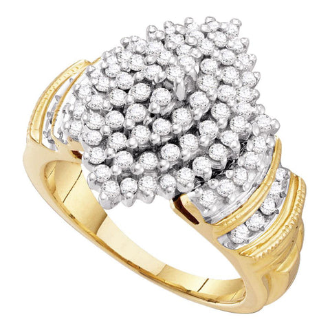 10kt Yellow Gold Womens Round Diamond Cluster Ring 1 Cttw