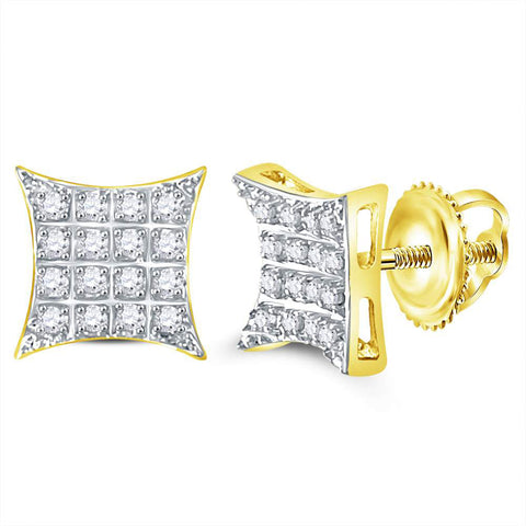 10kt Yellow Gold Mens Round Diamond Square Earrings 1/10 Cttw