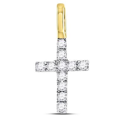 14kt Yellow Gold Womens Round Diamond Dainty Cross Pendant 1/10 Cttw