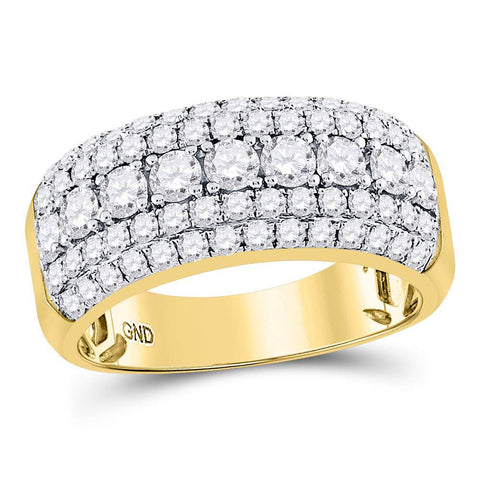 14kt Yellow Gold Mens Round Diamond Band Ring 2 Cttw