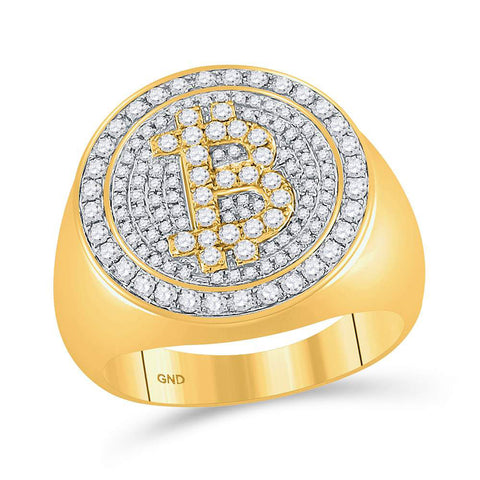 10kt Yellow Gold Mens Round Diamond Bitcoin Circle Cluster Ring 1 Cttw