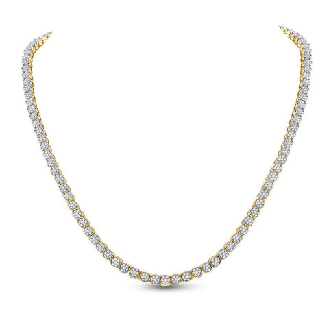 10kt Yellow Gold Mens Round Diamond Tennis Studded Necklace 8-1/2 Cttw