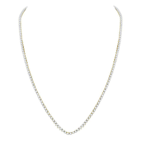"10kt Yellow Gold Mens Round Diamond Studded 24"" Tennis Chain Necklace 11 Cttw"