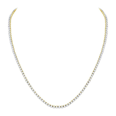 "10kt Yellow Gold Mens Round Diamond Studded 22"" Tennis Chain Necklace 10-1/2 Cttw"