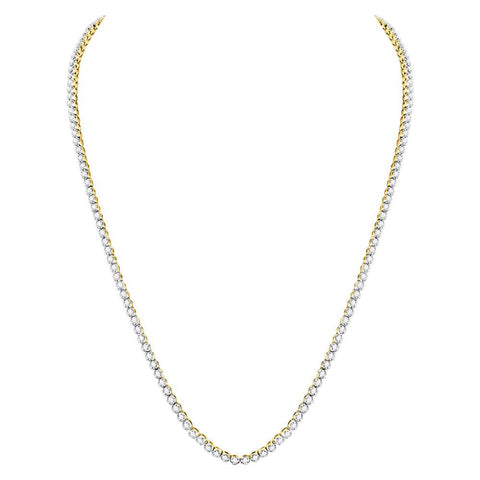 "10kt Yellow Gold Mens Round Diamond Studded 26"" Tennis Chain Necklace 11-3/8 Cttw"