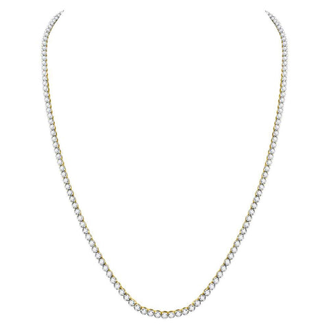 "10kt Yellow Gold Mens Round Diamond Studded 30"" Tennis Chain Necklace 13-3/8 Cttw"