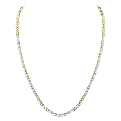 "10kt Yellow Gold Mens Round Diamond 24"" Studded Tennis Chain Necklace 15 Cttw"
