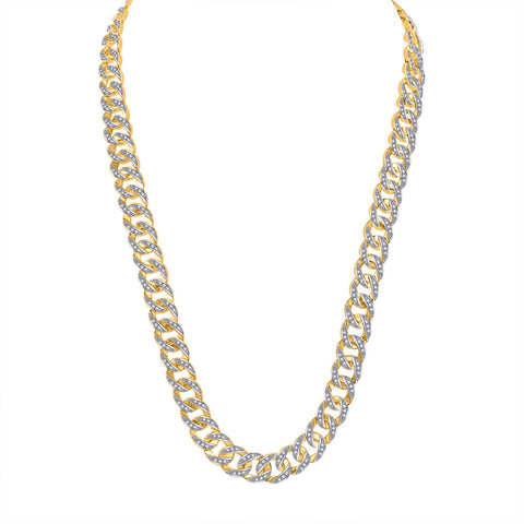 "10kt Yellow Gold Mens Round Diamond Cuban Link 24"" Chain Necklace 4-1/3 Cttw"
