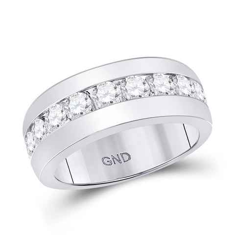 14kt White Gold Mens Round Diamond Single Row Channel-set Band Ring 2 Cttw