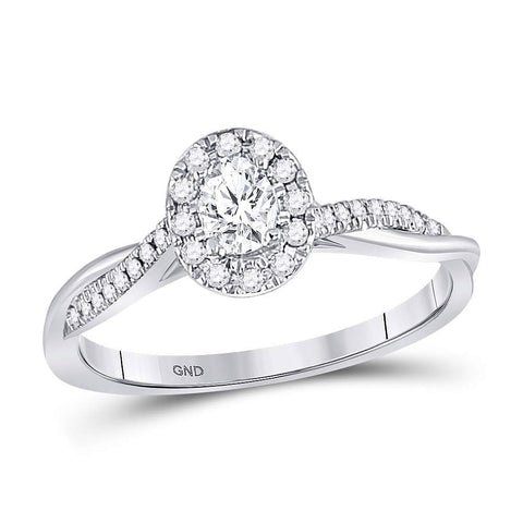 14kt White Gold Oval Diamond Solitaire Bridal Wedding Engagement Ring 1/3 Cttw