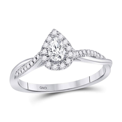 14kt White Gold Pear Diamond Solitaire Bridal Wedding Engagement Ring 1/3 Cttw