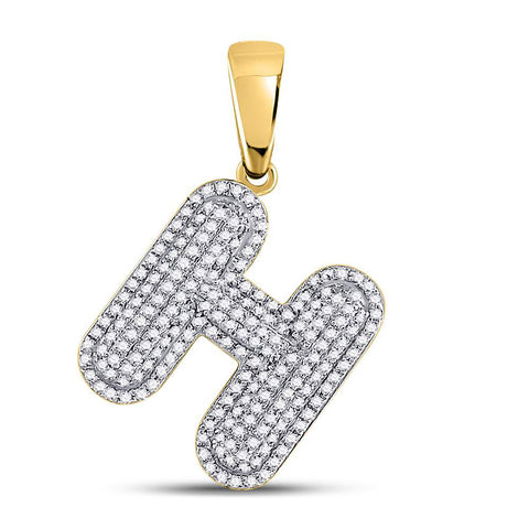 10kt Yellow Gold Mens Round Diamond Letter H Bubble Initial Charm Pendant 5/8 Cttw
