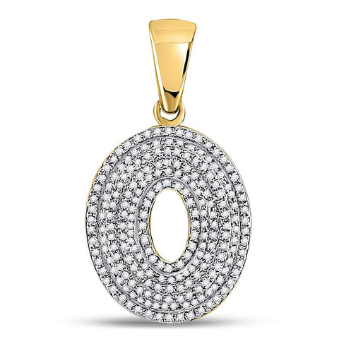 10kt Yellow Gold Mens Round Diamond Letter O Bubble Initial Charm Pendant 5/8 Cttw