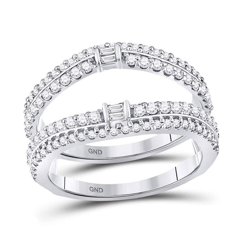 14kt White Gold Womens Baguette Diamond Wrap Ring Guard Enhancer 3/4 Cttw