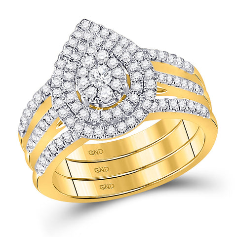 14kt Yellow Gold Round Diamond Cluster Bridal Wedding Ring Band Set 3/4 Cttw