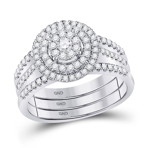 14kt White Gold Round Diamond Bridal Wedding Ring Band Set 3/4 Cttw