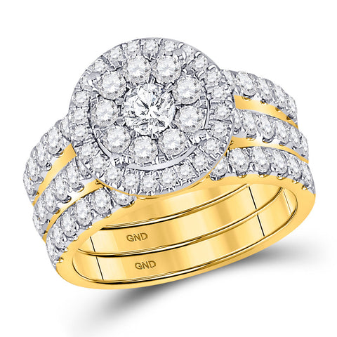 14kt Yellow Gold Round Diamond Bridal Wedding Ring Band Set 2 Cttw
