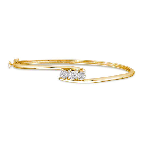 14kt Yellow Gold Womens Round Diamond Flower Cluster Bangle Bracelet 1/4 Cttw