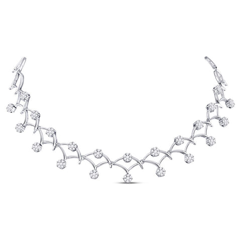 14kt White Gold Womens Round Diamond Cocktail Cluster Necklace 3-1/2 Cttw