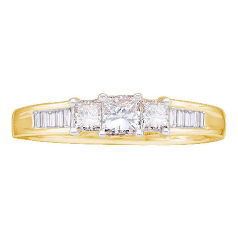 14kt Yellow Gold Princess Diamond 3-stone Bridal Wedding Engagement Ring 1/2 Cttw