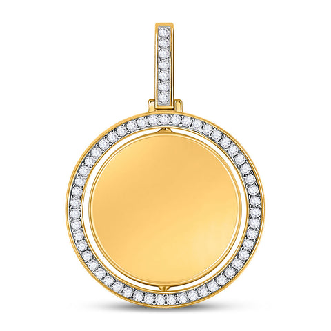 10kt Yellow Gold Mens Round Diamond Picture Memory Charm Pendant 1-3/8 Cttw