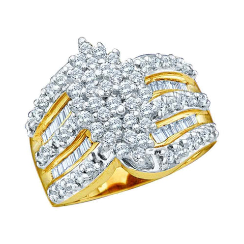 10kt Yellow Gold Womens Round Diamond Oval-shape Cluster Ring 1 Cttw