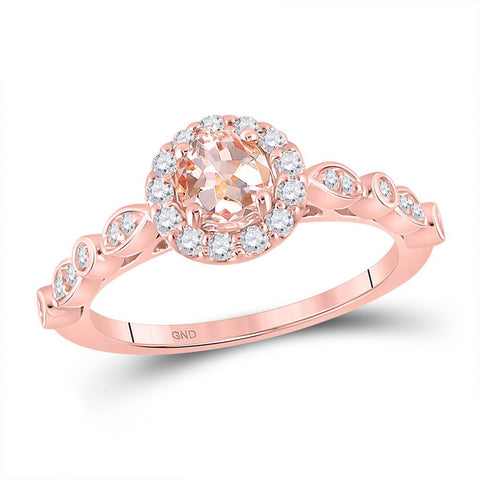 10kt Rose Gold Round Morganite Solitaire Bridal Wedding Engagement Ring 7/8 Cttw