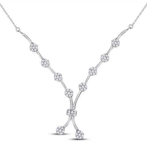 14kt White Gold Womens Round Diamond Flower Cluster Cocktail Necklace 1 Cttw