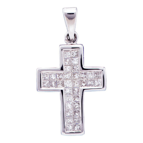 14kt White Gold Womens Princess Diamond Cross Pendant 1/2 Cttw