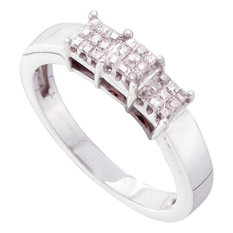 14kt White Gold Princess Diamond 3-stone Bridal Wedding Engagement Ring 1/4 Cttw