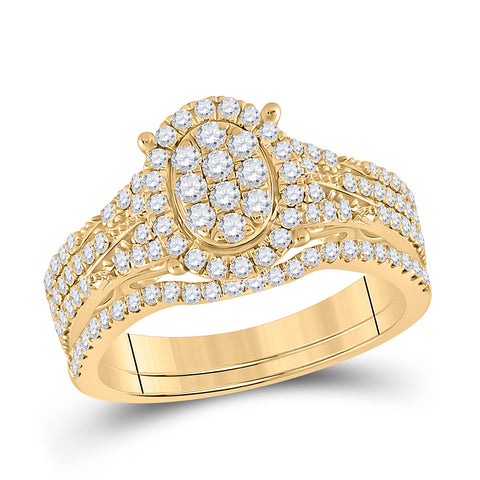 14kt Yellow Gold Round Diamond Cluster Bridal Wedding Ring Band Set 7/8 Cttw