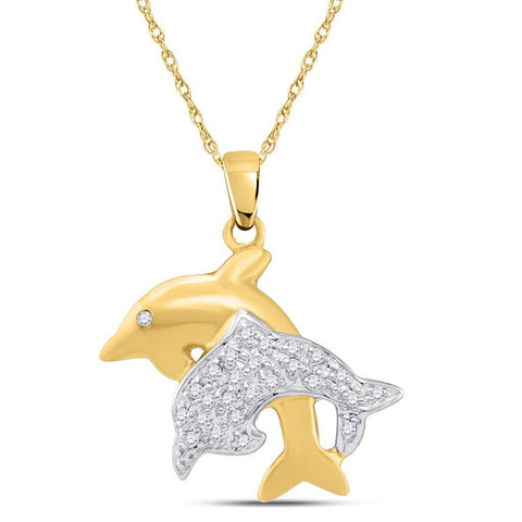 10kt Yellow Gold Womens Round Diamond Double Dolphin Fish Animal Pendant 1/8 Cttw