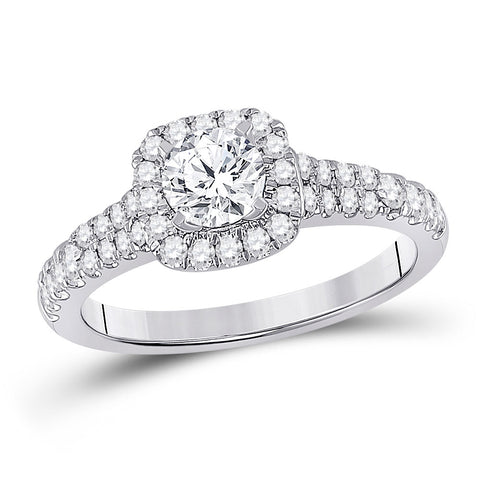 14kt White Gold Round Diamond Halo Bridal Wedding Engagement Ring 1 Cttw