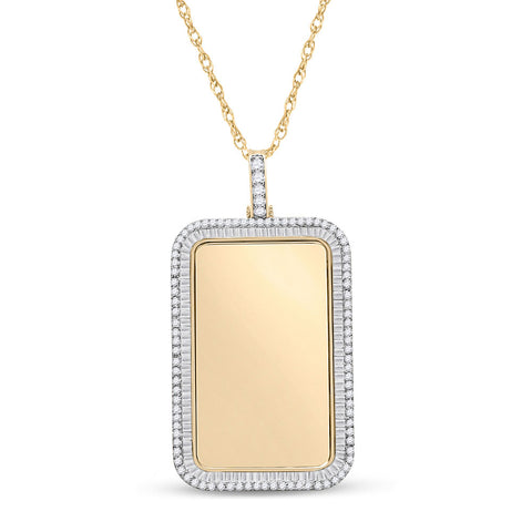 10kt Yellow Gold Mens Baguette Diamond Dog Tag Picture Memory Pendant 2 Cttw