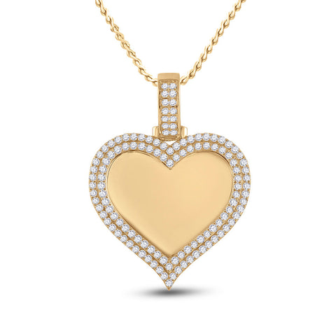 14kt Yellow Gold Mens Round Diamond Heart Picture Memory Pendant 2-1/2 Cttw