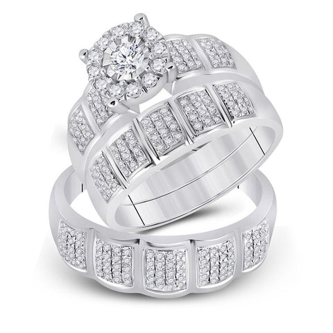 10kt White Gold His Hers Round Diamond Halo Matching Wedding Set 7/8 Cttw