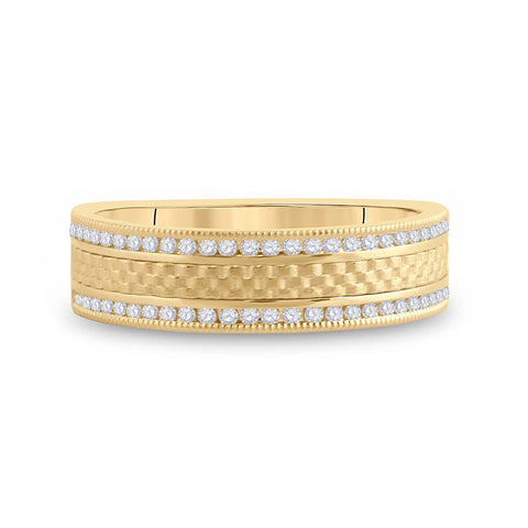 14kt Yellow Gold Mens Round Diamond Wedding Brick Band Ring 1/3 Cttw