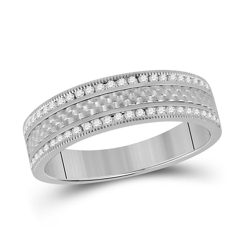 14kt White Gold Mens Round Diamond Wedding Brick Band Ring 1/3 Cttw