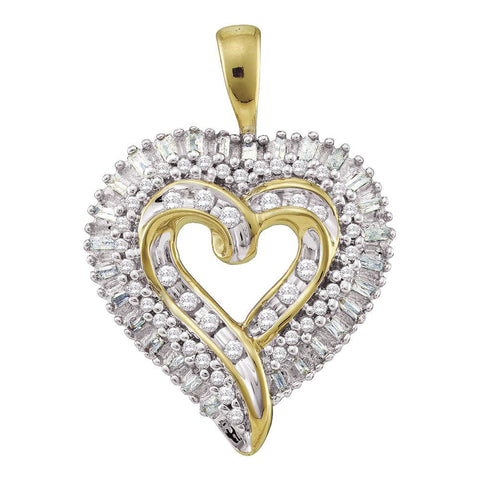 10kt Yellow Gold Womens Round Diamond Heart Cluster Pendant 1/2 Cttw
