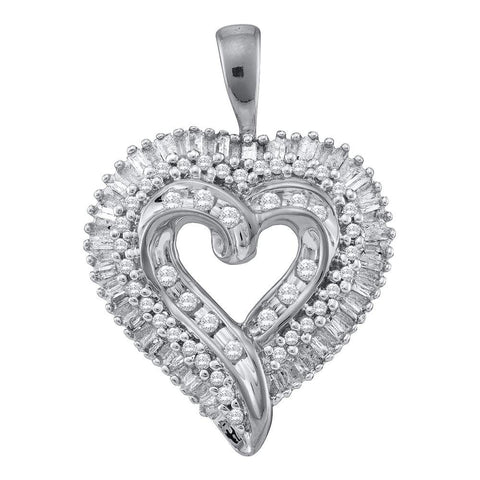 10kt White Gold Womens Round Diamond Heart Cluster Pendant 1/2 Cttw