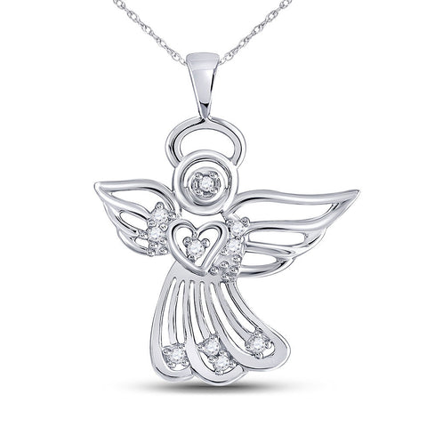 10kt White Gold Womens Round Diamond Guardian Angel Pendant 1/10 Cttw