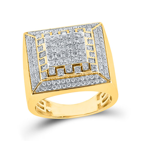 10kt Yellow Gold Mens Round Diamond Square Ring 1-3/4 Cttw