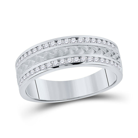 14kt White Gold Mens Round Diamond Wedding Braided Band Ring 1/2 Cttw