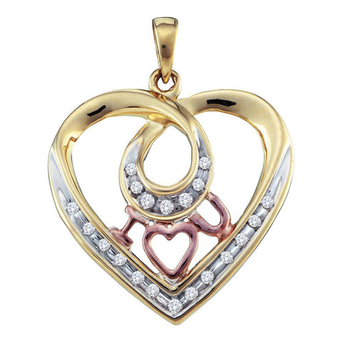 10kt Yellow Gold Womens Round Diamond Heart I Love You Pendant 1/8 Cttw