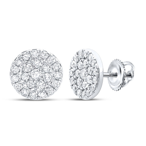10kt White Gold Womens Round Diamond Cluster Earrings 3/4 Cttw