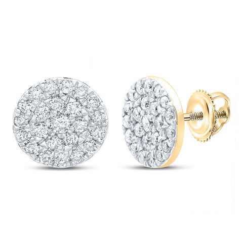 10kt Yellow Gold Womens Round Diamond Cluster Earrings 1/2 Cttw