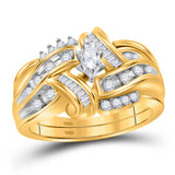 14kt Yellow Gold Marquise Diamond Bridal Wedding Ring Band Set 1/2 Cttw
