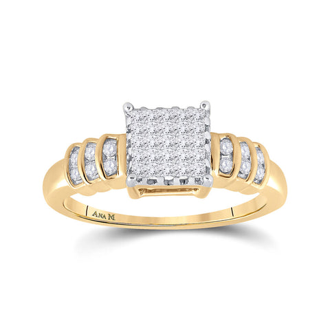 14kt Yellow Gold Womens Princess Diamond Square Cluster Ring 1/3 Cttw